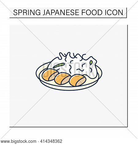 Spring Cabbage Color Icon. Garnish To Meat On Plate.traditional Dish. Japanese Food Concept. Isolate
