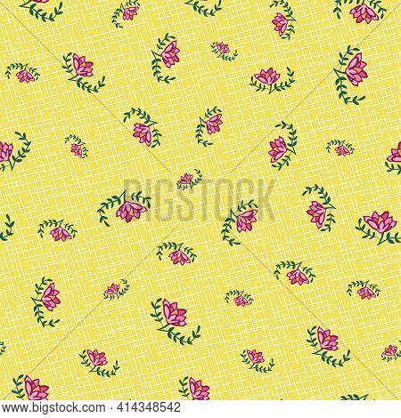 Pink Flower Toss Seamless Vector Pattern On Yellow