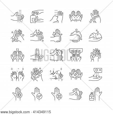 Large Set Of Hand Washing, Personal Hygiene And Cleanliness Icons For Use As Design Elements For Cov