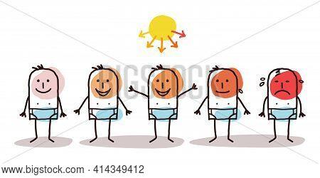 Hand Drawn Cartoon Man Sunbathing And Dangerous Sun Rays