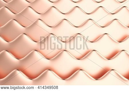 Abstract Metallic Background. Dimensional Horizontal Waves Made Of Rose Gold Material. Minimalist St