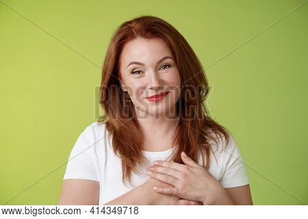 Lovely Pleased Tender Redhead Middle-aged Ginger Woman Press Hands Heart Feel Touched Grateful Appre