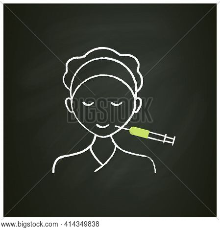 Cosmetic Injection Chalk Icon.injection Into Lips Corners. Smile. Form Correction. Rejuvenation. Ful