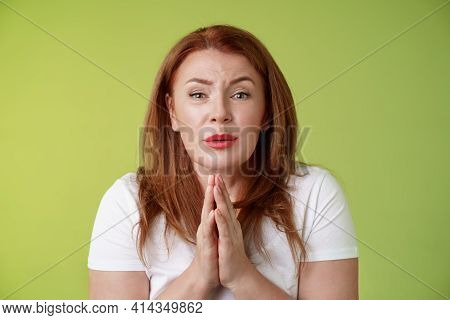 Please Need Help Asap. Tender Timid Redhead Middle-aged Woman Plead Press Palms Together Pray Beggin