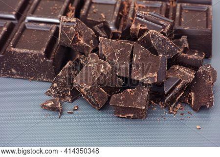 Pieces Of Homemade Broken Dark Chocolate. Close Up.