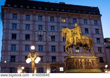Belgrade, Serbia - March 25, 2021: Statue Of Serbian Ruler Prince Mihailo Obrenovic In The Republic