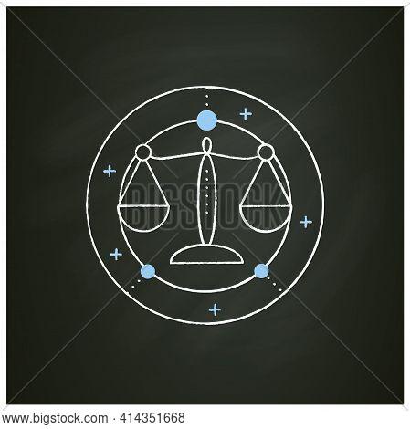 Libra Chalk Icon. Seventh Fire Sign In Zodiac. Scales Birth Symbol. Mystic Horoscope Sign. Astrologi