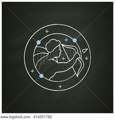 Sagittarius Chalk Icon. Ninth Fire Sign In Zodiac. Shooter Birth Symbol. Mystic Horoscope Sign. Astr