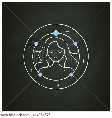 Virgo Chalk Icon. Sixth Fire Sign In Zodiac. Female Woman Birth Symbol. Mystic Horoscope Sign. Astro