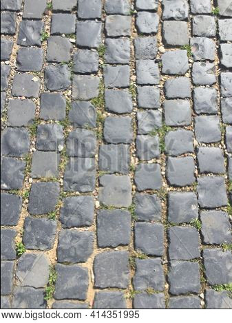 Detail Of Cobble Stone Background In Sun
