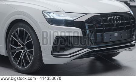 Germany, Berlin - March 2021: Beautiful Design Of New Car In Car Dealership. Action. Exterior Luxury
