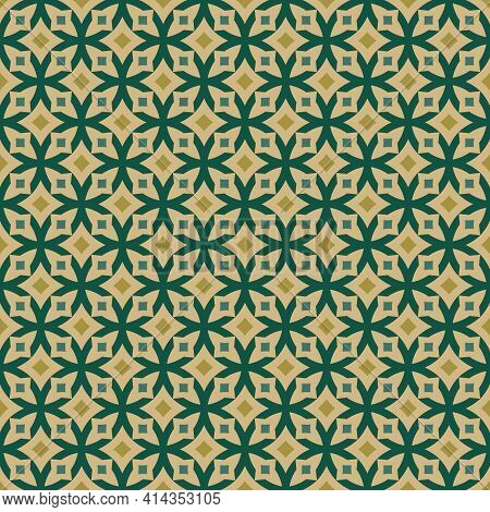 Abstract Geometric Seamless Pattern. Elegant Vector Texture With Curved Shapes, Grid, Lattice, Cross