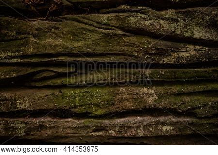 Mossy Rock Wall Layers In The Ledges In Cuyahoga Valley National Park