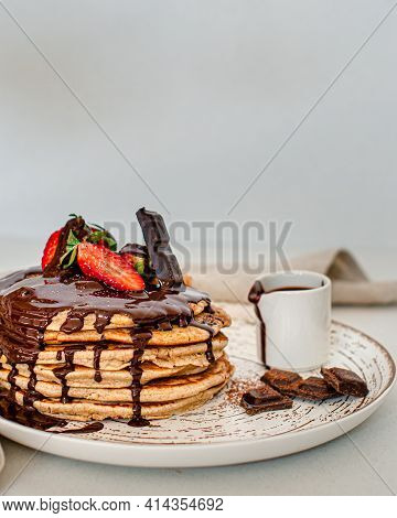 American, Nourishment.sweet Pancakes In Chocolate With Strawberry