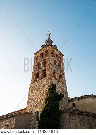 Panorama View Of Roman Catholic Church Of San Sebastian In Segovia Old Town Historic City Centre Cas