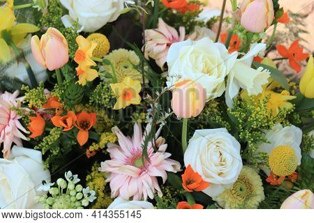 Mixed Bouquet With Various Spring Flowers: Tulips And Daffodils