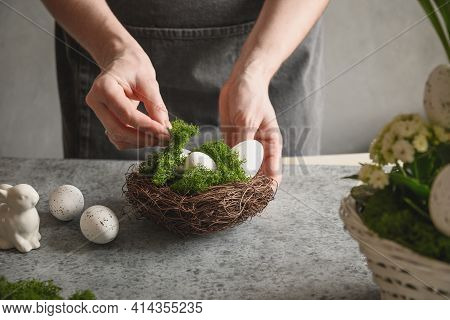 Easter Floral Diy Composition For Table Centerpiece With White Eggs, Moss And Bunny.