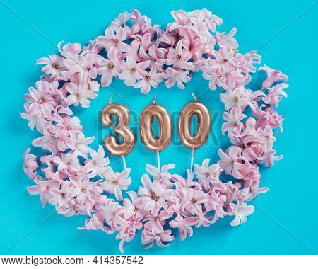 300 Followers Card. Template For Social Networks, Blogs. Background With Pink Flower Petals. Social