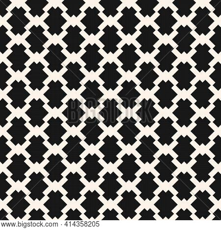 Vector Monochrome Seamless Pattern With Diamond Grid, Net, Mesh, Lattice, Small Diamond Shapes. Abst