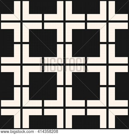 Vector Geometric Seamless Pattern. Abstract Black And White Texture With Big Squares, Grid, Lattice,