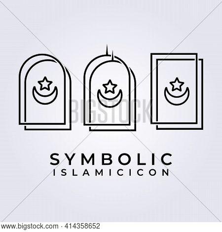 Simple Line Art Islamic Symbolic Logo Vector Illustration Design
