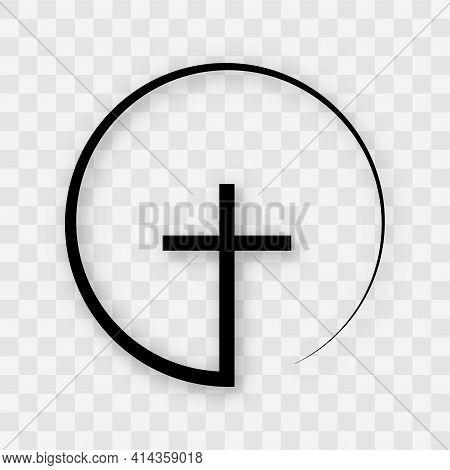Line Art Christian Cross. Christian Cross Vector Sign Isolated On Transparent Background. Vector Ill