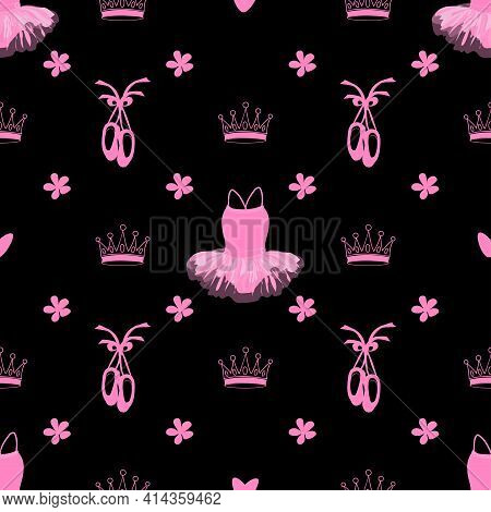 Vector Seamless Pattern Featuring Tutu, Pointe Shoes, Crowns And Flowers On A Black Background