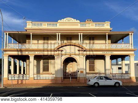 Bundaberg, Australia - February 28, 2021: Facade Of The Former Queensland National Bank Building, Bu