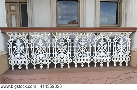 Detail Of The Wrought Iron Balustrade Of The Verandah Of The Former Queensland National Bank Buildin