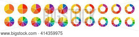 Pie Charts Diagrams. Set Of Different Color Circles Isolated. Infographic Element Round Shape. Vecto