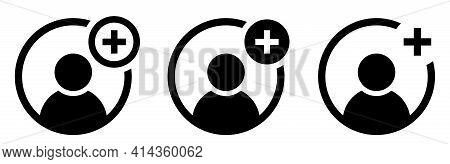 Add User Icon. New Person Profile Icons Set. Avatar With Plus Sign. Vector Job Profile Symbol. Vecto
