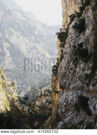 Panorama View Of Gorge Valley Canyon Hiking Trail Path Route Senda Del Cares Carved Cut In Cliff Wal