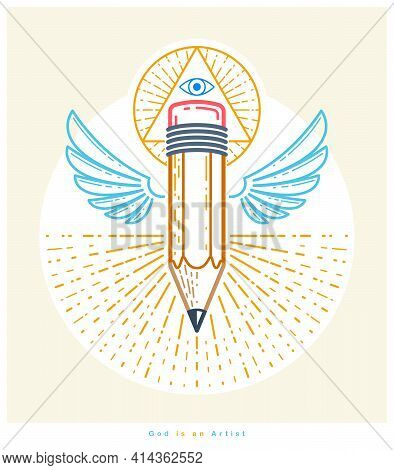 God Is A Designer Concept, Pencil With Wings And All Seeing Eye Of God In Sacred Geometry Triangle,