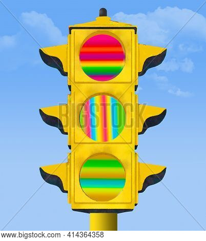 An Electric Traffic Signal Gives Out A Meaningless Message With Lights Of Multiple Colors Instead Of