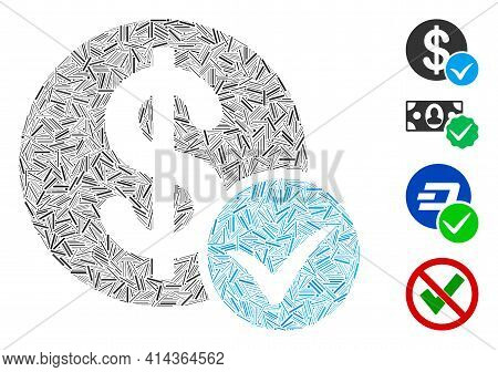 Line Collage Accept Payment Icon Constructed From Straight Elements In Random Sizes And Color Hues.