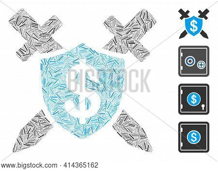 Line Collage Bank Guard Icon Constructed From Narrow Items In Random Sizes And Color Hues. Line Item
