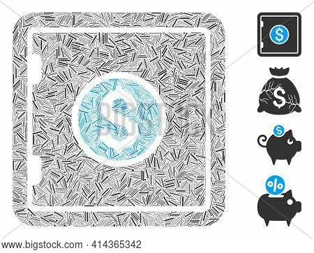 Hatch Collage Banking Safe Icon Designed From Narrow Items In Variable Sizes And Color Hues. Irregul