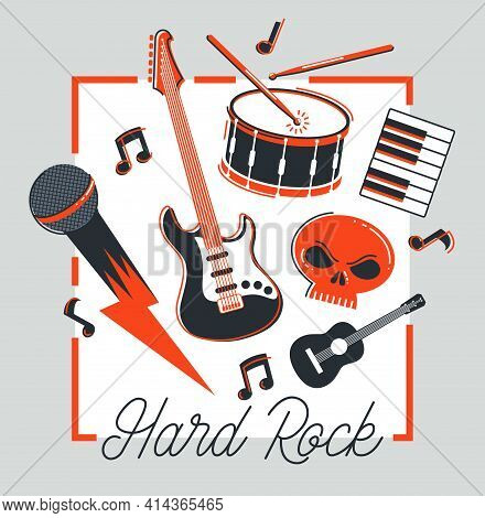 Rock Music Band Vector Poster Flat Illustration Isolated Over White Background, Hard Rock And Heavy