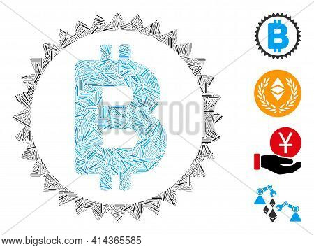 Hatch Collage Bitcoin Medal Coin Icon United From Straight Items In Variable Sizes And Color Hues. I