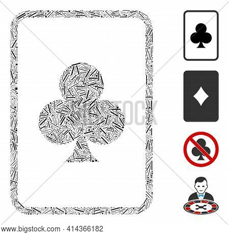 Hatch Mosaic Clubs Gambling Card Icon Designed From Straight Elements In Variable Sizes And Color Hu