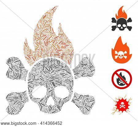 Line Collage Death Fire Icon Organized From Narrow Items In Variable Sizes And Color Hues. Irregular