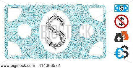 Line Collage Dollar Banknote Icon Organized From Thin Items In Different Sizes And Color Hues. Linea
