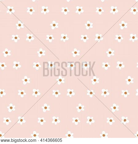 Cute Baby Simple Repeat Daisy Flower Pattern With Black Background. Seamless Floral Pattern. Stylish