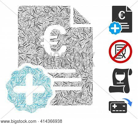 Hatch Mosaic Euro Medical Invoice Icon United From Straight Items In Different Sizes And Color Hues.