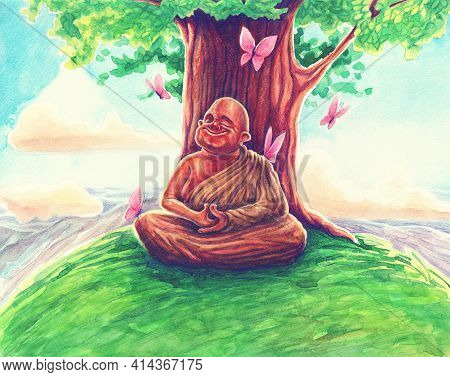 Buddhist In Yellow Clothing Sits In Meditation And Bodhi Tree By Watercolor Painting Art, Hand Drawn
