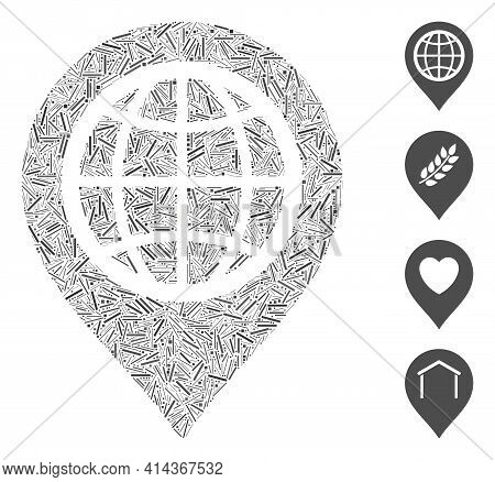 Linear Collage Globe Map Marker Icon Designed From Straight Items In Variable Sizes And Color Hues.