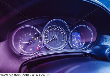 Novosibirsk, Russia - March 26  2021: Mazda Cx-5,  Car Panel, Digital Bright Speedometer, Odometer A