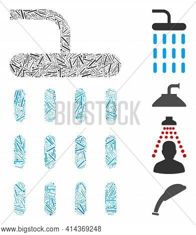 Hatch Mosaic Shower Icon Constructed From Thin Items In Different Sizes And Color Hues. Irregular Ha