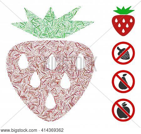 Hatch Mosaic Strawberry Icon Organized From Narrow Items In Variable Sizes And Color Hues. Irregular