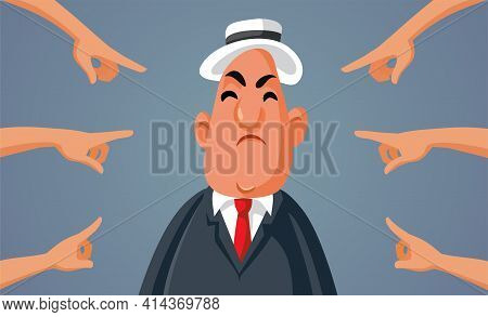 Fingers Pointed Blaming Middle-aged Man Vector Illustration